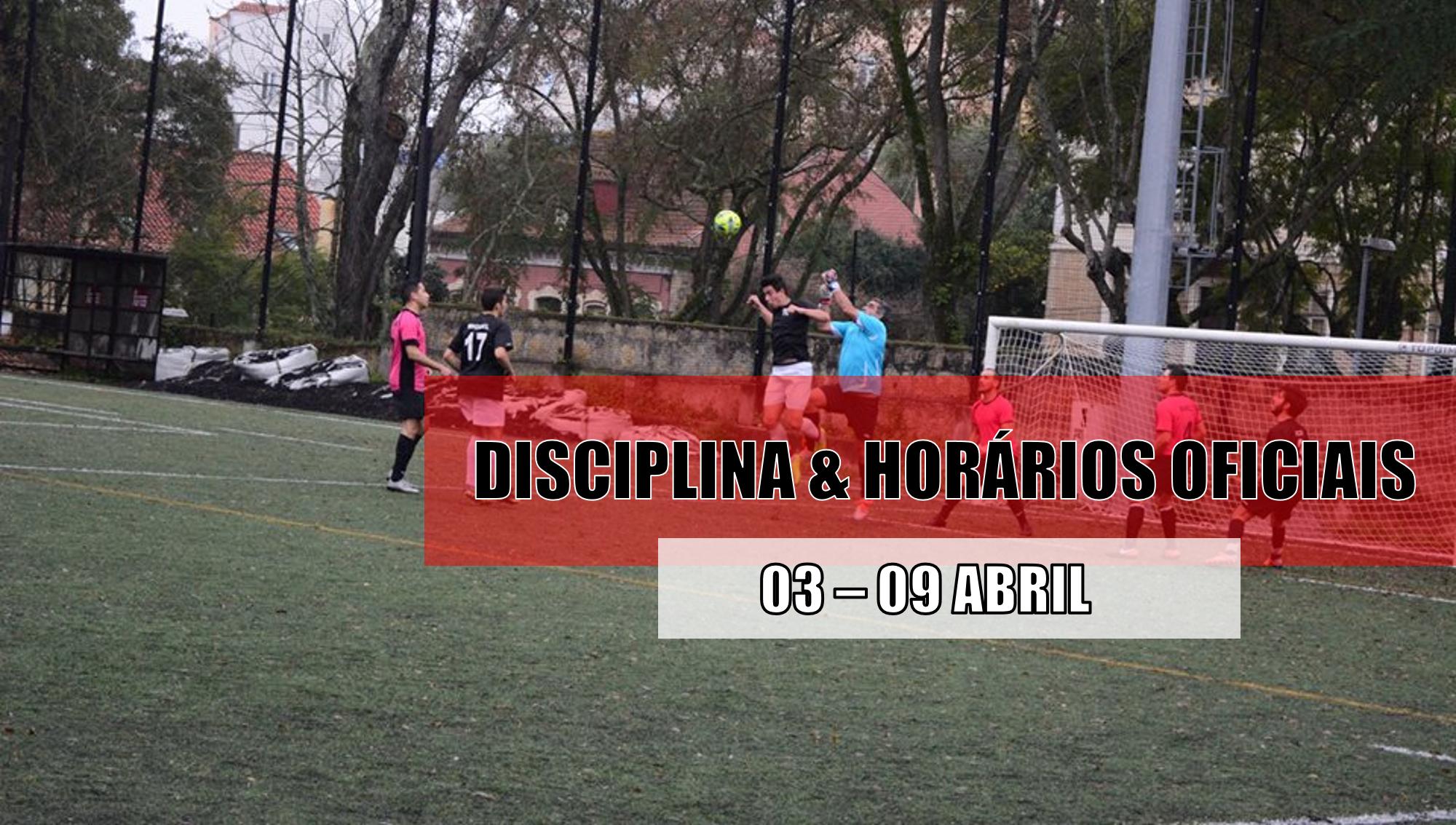 DISCIPLINA   HORÁRIOS OFICIAIS – 6 ABRIL  0dc7f4bd2648b